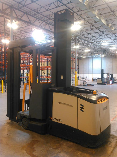 Pre Owned Trucks >> Crown TSP 6000 Man-Up Turret Forklift - Rebuilt Encore Program - ZAR Corporation